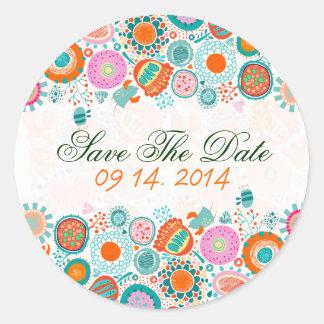Cute Retro Birds & Flowers Save The Date Round Sticker