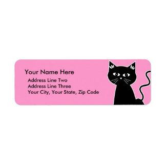 Cute Retro Black Cat Cartoon Drawing Label
