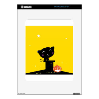 Cute retro Black cat on Yellow Decal For The iPad