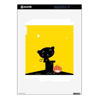 Cute retro Black cat on Yellow Skin For The iPad 2