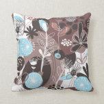 Cute Retro Blue Brown Floral Pattern Throw Pillows