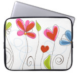Cute Retro Blue Pink Floral Laptop Computer Sleeve