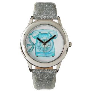 Cute Retro Blue Rotary Phone Wrist Watch Turquoise