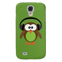 Cute Retro Cartoon Owl DJ With Heads Samsung Galaxy S4 Cover