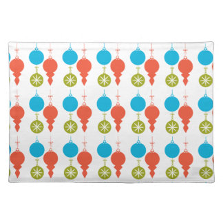 Cute Retro Christmas Ornaments Green Red Blue Cloth Placemat