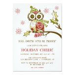 "Cute Retro Christmas Owl Holiday Party Invitation 5"" X 7"" Invitation Card"