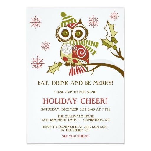 "Retro Christmas Party Invitations: Cute Retro Christmas Owl Holiday Party Invitation 5"" X 7"