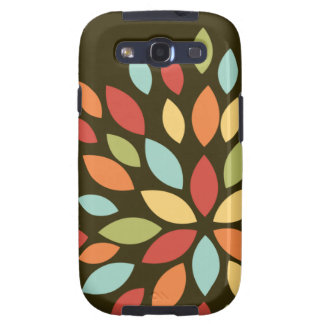 Cute Retro Colors Flower on Brown Galaxy SIII Covers