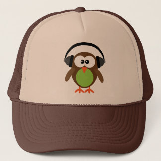 Cute Retro DJ Owl With Headphones Trucker Hat