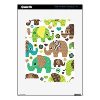 Cute retro elephant india parade pattern ipad decal for iPad 3