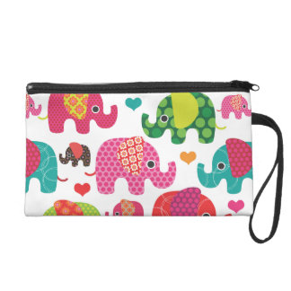 Cute retro elephant india pattern wristlet