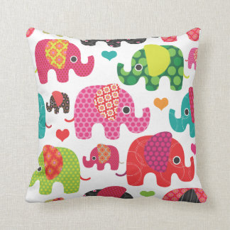 Cute retro elephant parade pattern pillow case