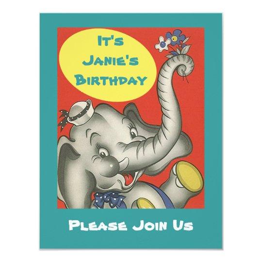 Cute Retro Elephant Themed Party Invitation Invite