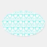 Cute Retro Eyeglass Hipster Oval Sticker