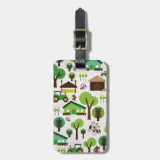Cute Retro Farm Animal Pattern Travel Tag at Zazzle