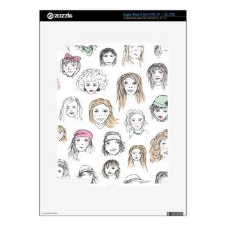 Cute retro fashion models face pattern ipad iPad 3 skin