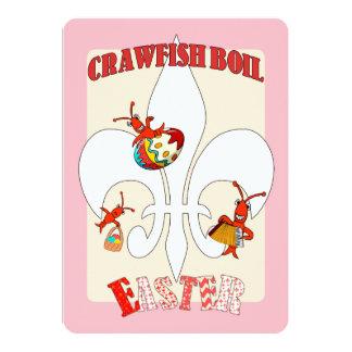 Cute Retro Feel Easter Crawfish Boil (pink) Card