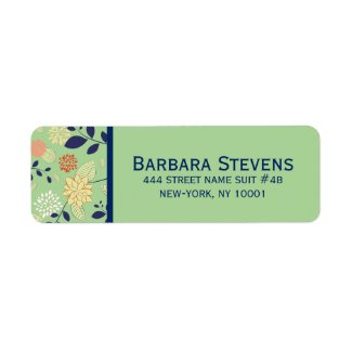 Cute Retro Floral Design Return Address Label