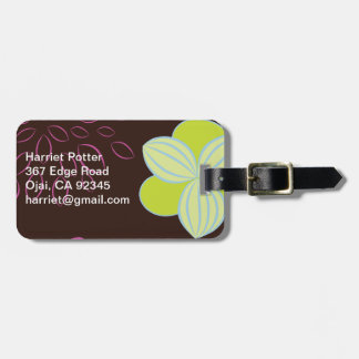 Cute Retro Floral Hot Pink Green Gold Travel Bag Tags
