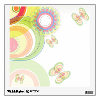 Cute Retro Floral Pattern, Floral and  Butterfly Wall Decal