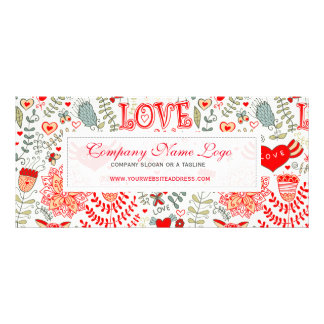 Cute Retro Floral Valentines Design Rack Card