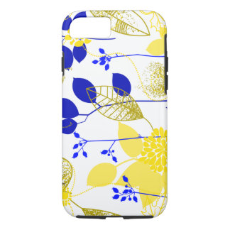 Cute Retro Floral, Yellow & Blue iPhone 7 Case
