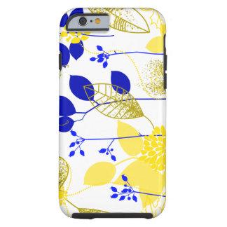 Cute Retro Floral, Yellow & Blue Tough iPhone 6 Case