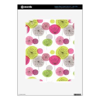 Cute retro flower blossom pattern ipad skin for iPad 3