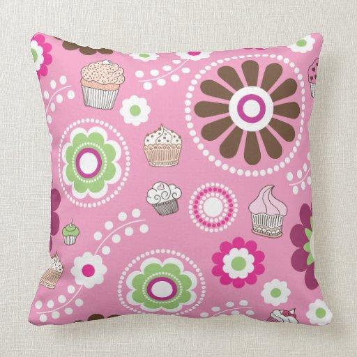Cute retro flower cupcake pattern pillow case Zazzle