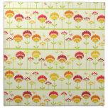 Cute retro flower garden ir orange printed napkins