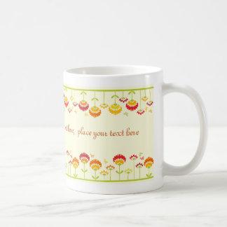 Cute retro flower garden with a name coffee mug