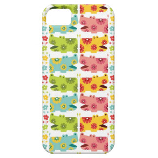 cute retro flower hippie hippos pattern iPhone SE/5/5s case