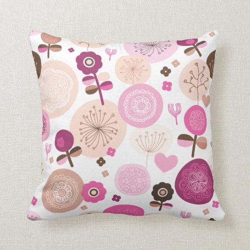Cute retro flower pink pattern pillow case