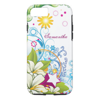 Cute Retro Flowers and Stars, Girlie Grunge iPhone 7 Case