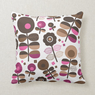 Cute retro flowers brown pink pattern pillow case