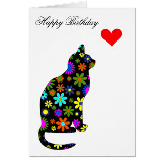 Cute Retro Girly Birthday Floral Cat Feline Heart Card