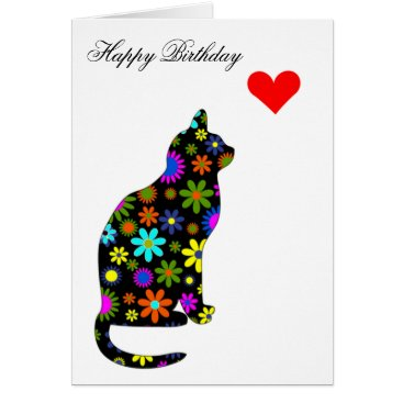 Valentines Themed Cute Retro Girly Birthday Floral Cat Feline Heart Card