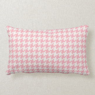 Cute retro girly pastel pink houndstooth pattern lumbar pillow
