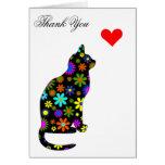 Cute Retro Girly Thank-You Floral Cat Feline Heart Card