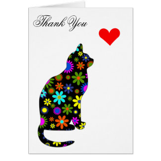 Cute Retro Girly Thank-You Floral Cat Feline Heart Card