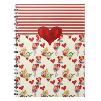 Cute Retro Girly Valentine Red Heart Notebook