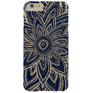 Cute Retro Gold Abstract Flower Drawing on Black Barely There iPhone 6 Plus Case