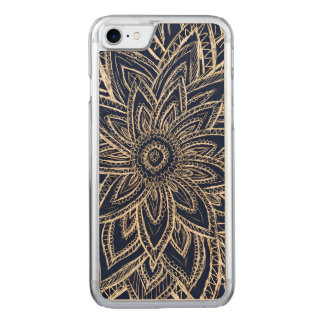Cute Retro Gold abstract Flower Drawing on Black Carved iPhone 7 Case