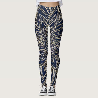 Cute Retro Gold Abstract Flower Drawing on Black Leggings
