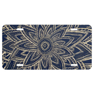 Cute Retro Gold abstract Flower Drawing on Black License Plate