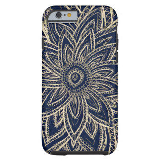 Cute Retro Gold abstract Flower Drawing on Black Tough iPhone 6 Case