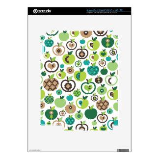 Cute retro green apple fruit pattern ipad skin for iPad 3