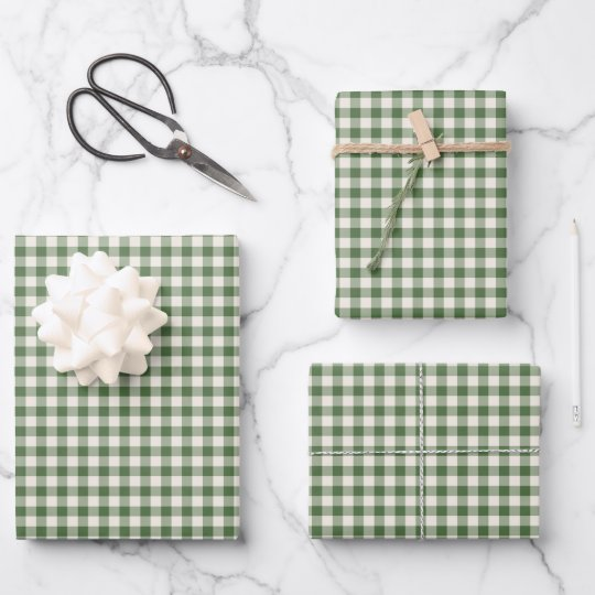 Cute Retro Green Gingham Plaid Pattern Wrapping Paper Sheets