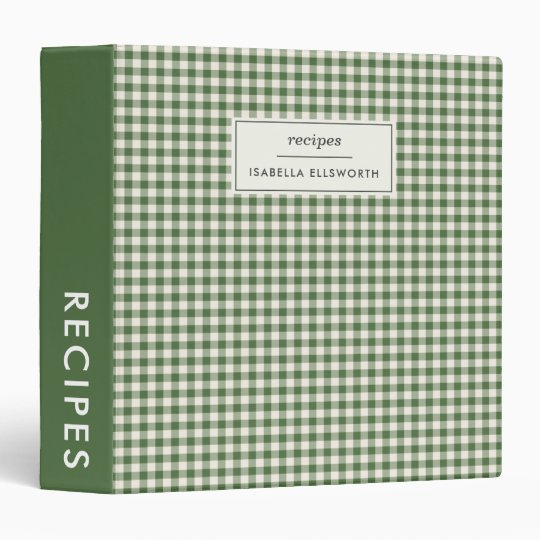 Cute Retro Green Gingham Plaid Personalized Recipe 3 Ring Binder