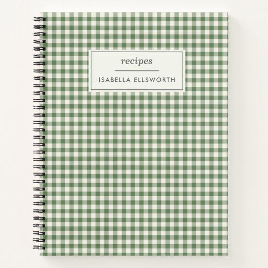 Cute Retro Green Gingham Plaid Personalized Recipe Notebook